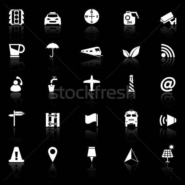 Map sign icons with reflect on black background Stock photo © nalinratphi