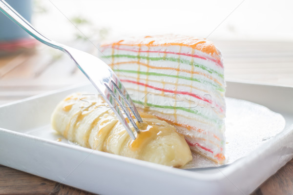 Heerlijk dessert banaan karamel crêpe cake Stockfoto © nalinratphi