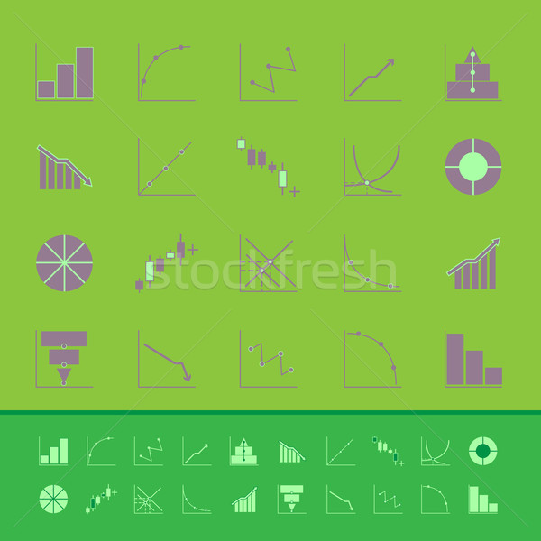 Set of diagram and graph color icons Stock photo © nalinratphi