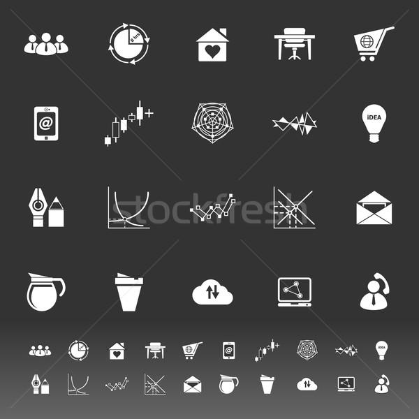 Virtual organización iconos gris stock vector Foto stock © nalinratphi