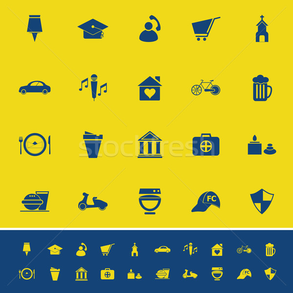 Map sign and symbol color icons on yellow background Stock photo © nalinratphi