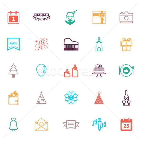 Christmas nieuwjaar lijn iconen kleur voorraad Stockfoto © nalinratphi