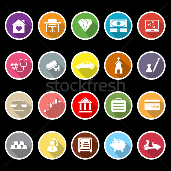 Insurance related flat icons with long shadow Stock photo © nalinratphi