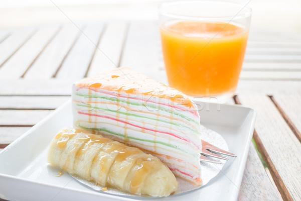 Energy charge dessert with banana caramel crepe cake and fresh o Stock photo © nalinratphi