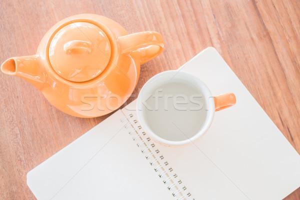 üst görmek dikkat kitap sıcak içecek stok Stok fotoğraf © nalinratphi