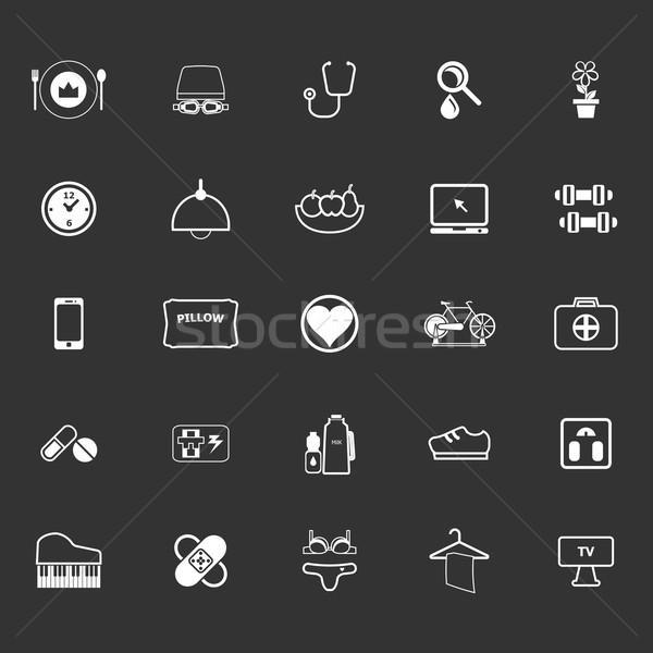 Quality life line icons on gray background Stock photo © nalinratphi