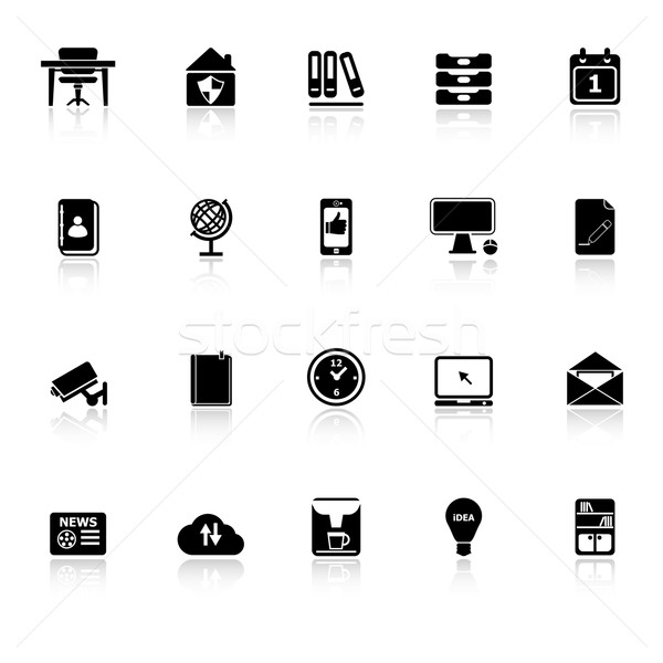 Home office icons with reflect on white background Stock photo © nalinratphi