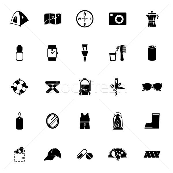 Camping noodzakelijk iconen witte voorraad vector Stockfoto © nalinratphi