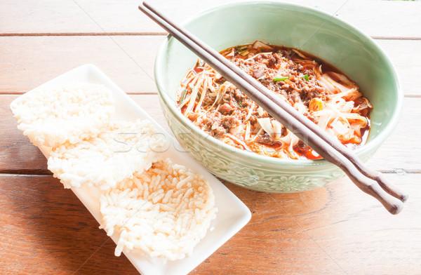 еды набор суп хрустящий риса Сток-фото © nalinratphi