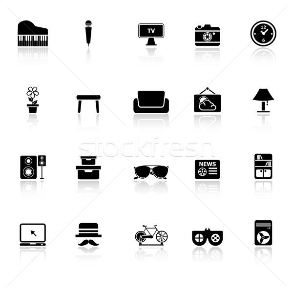 Living room icons with reflect on white background Stock photo © nalinratphi