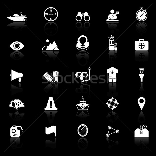 Waterway related icons with reflect on black background Stock photo © nalinratphi