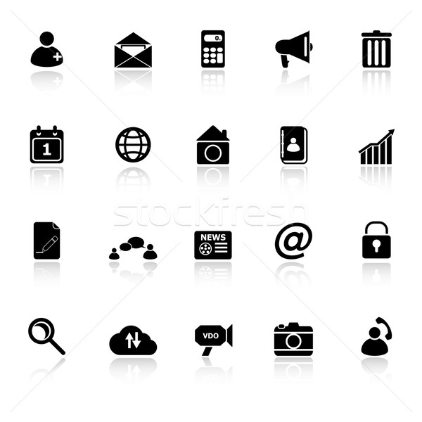 Mobile phone icons with reflect on white background Stock photo © nalinratphi