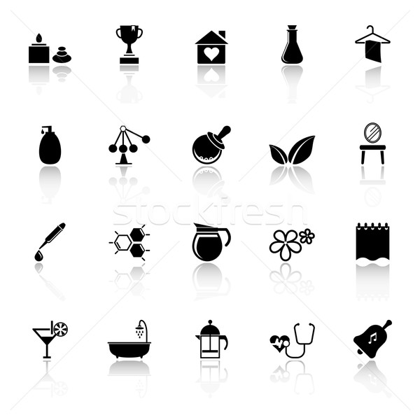 Spa treatment icons with reflect on white background Stock photo © nalinratphi