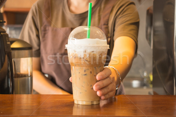 Pastic glass of iced coffee cappuccino Stock photo © nalinratphi