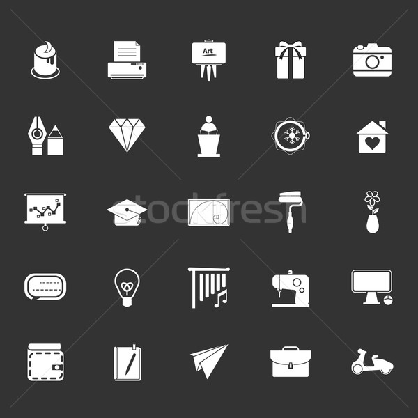 Art and creation icons on gray background Stock photo © nalinratphi