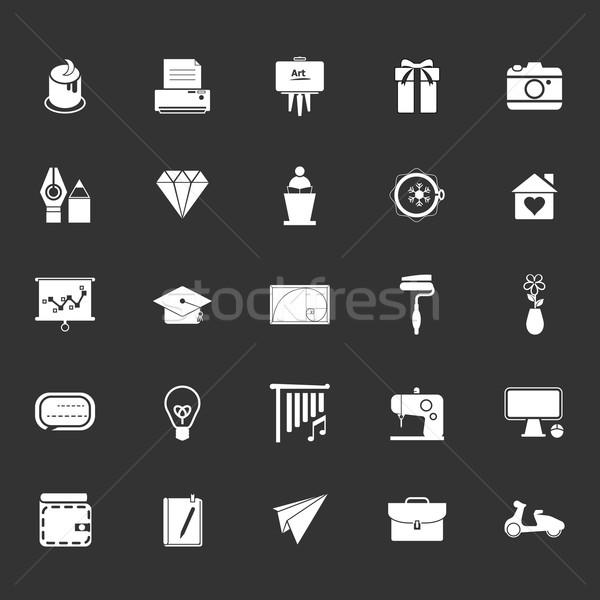 Sztuki tworzenie ikona szary czas wektora Zdjęcia stock © nalinratphi
