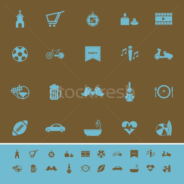 Weekend kleur iconen bruin voorraad vector Stockfoto © nalinratphi