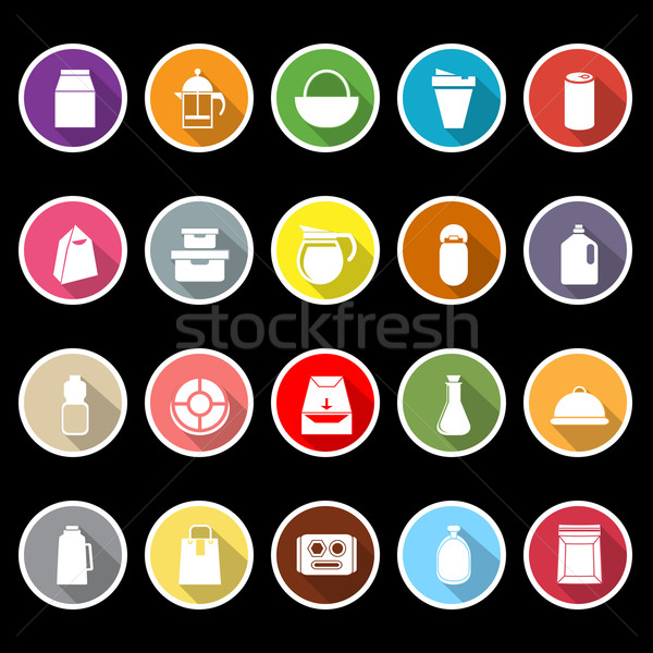 Variedad alimentos paquete iconos largo sombra Foto stock © nalinratphi