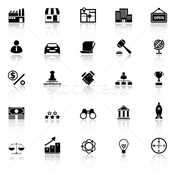 Franchise icons with reflect on white background Stock photo © nalinratphi