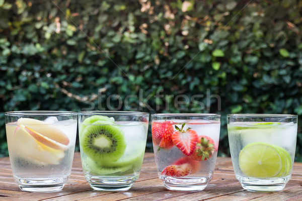 Variety fruit infused water with iced Stock photo © nalinratphi