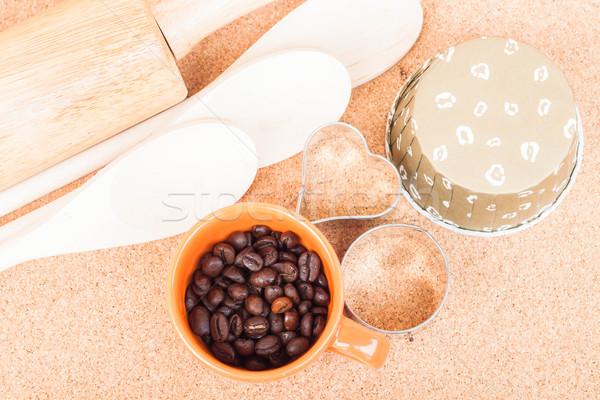 Csésze kávébab pékség felszerlés asztal textúra Stock fotó © nalinratphi