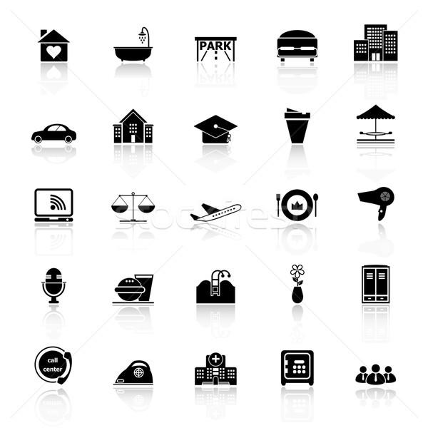 Vendégszeretet üzlet ikonok fehér stock vektor Stock fotó © nalinratphi