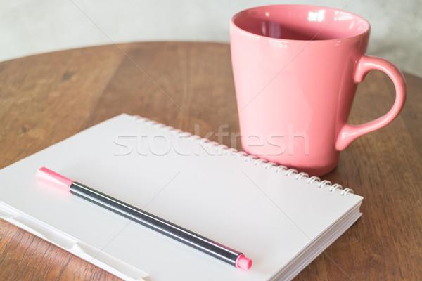горячий напиток деревянный стол складе фото работу Сток-фото © nalinratphi