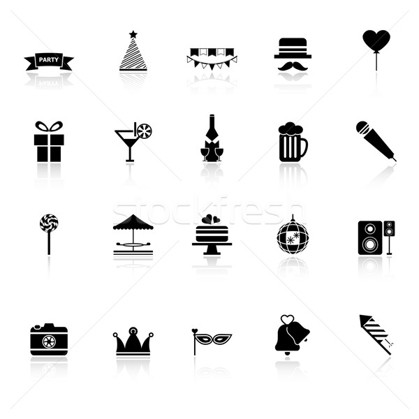 Party time icons with reflect on white background Stock photo © nalinratphi