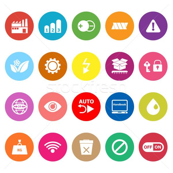 Electronic sign flat icons on white background Stock photo © nalinratphi