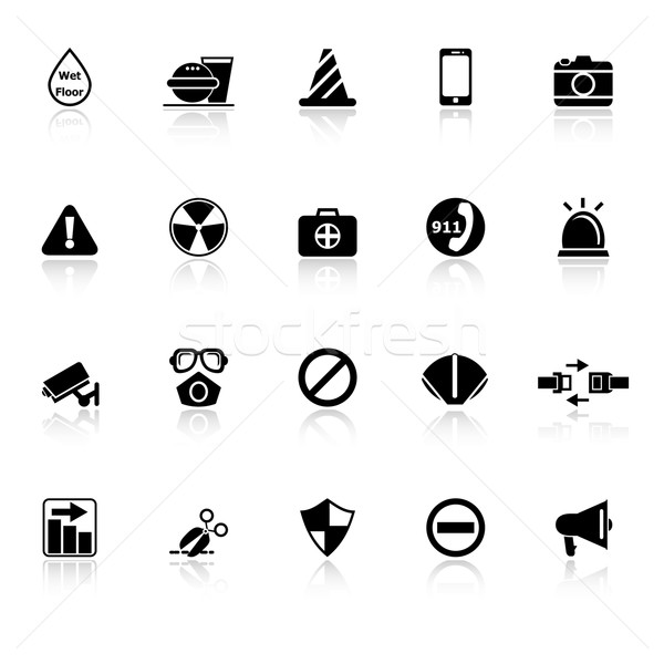 General useful icons with reflect on white background Stock photo © nalinratphi