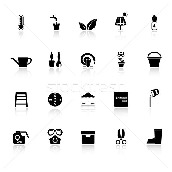 Home tuin iconen witte voorraad vector Stockfoto © nalinratphi