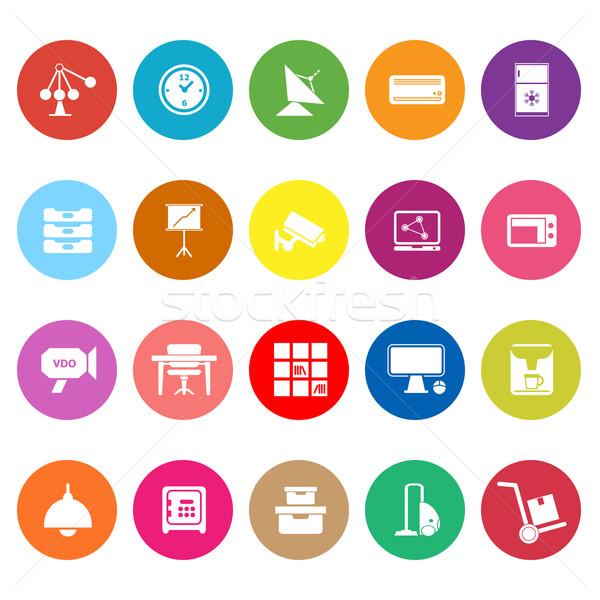 Algemeen kantoor iconen witte voorraad vector Stockfoto © nalinratphi