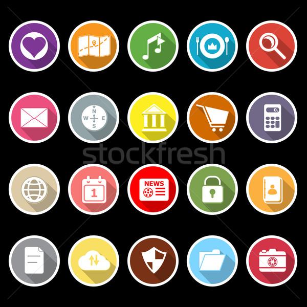 Ogólny aplikacja ikona długo cień czas Zdjęcia stock © nalinratphi