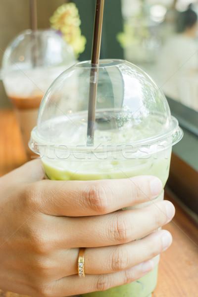 Refresh drink of iced green tea latte Stock photo © nalinratphi
