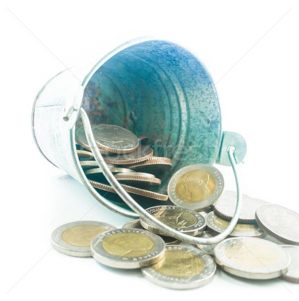 Thai pièces faible métal seau blanche Photo stock © nalinratphi