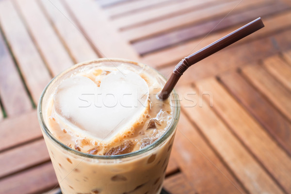 Cold coffee drink with heart ice cube   Stock photo © nalinratphi
