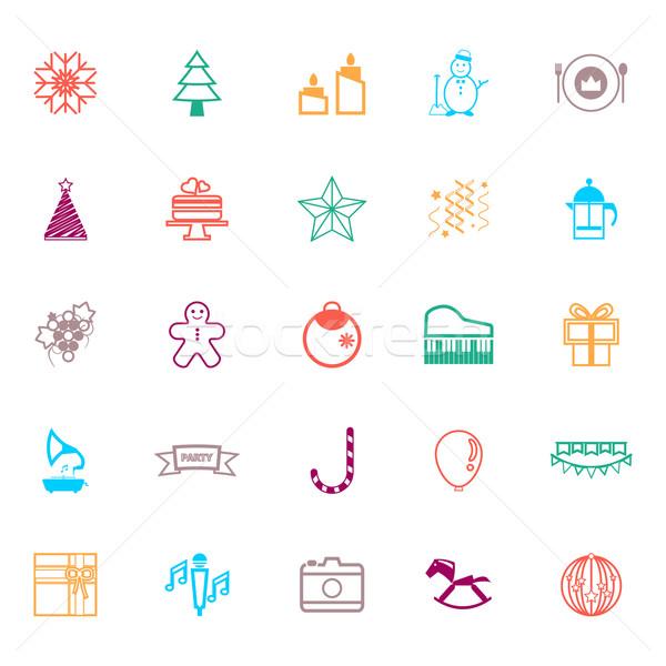 Año nuevo Navidad línea iconos color stock Foto stock © nalinratphi