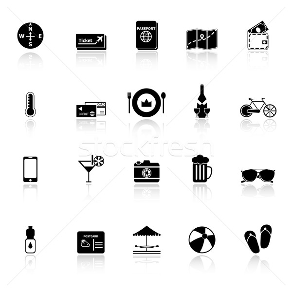 Journey icons with reflect on white background Stock photo © nalinratphi