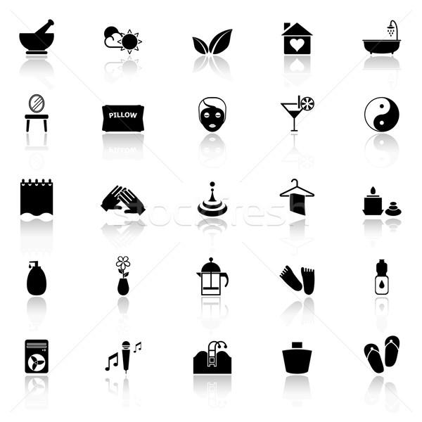 Massage icons with reflect on white background Stock photo © nalinratphi