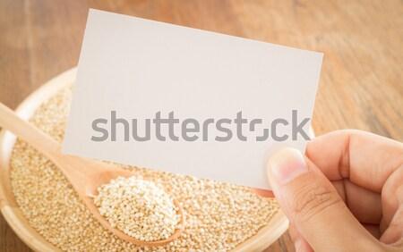 Organik tahıl el kartvizit stok fotoğraf Stok fotoğraf © nalinratphi