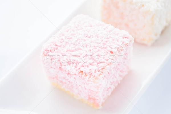 Stockfoto: Spons · gebak · plaat · voorraad · foto · brood