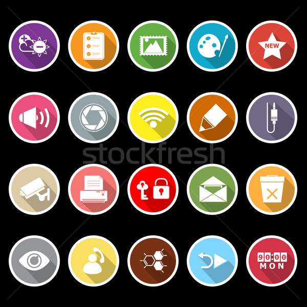 General computer screen flat icons with long shadow Stock photo © nalinratphi