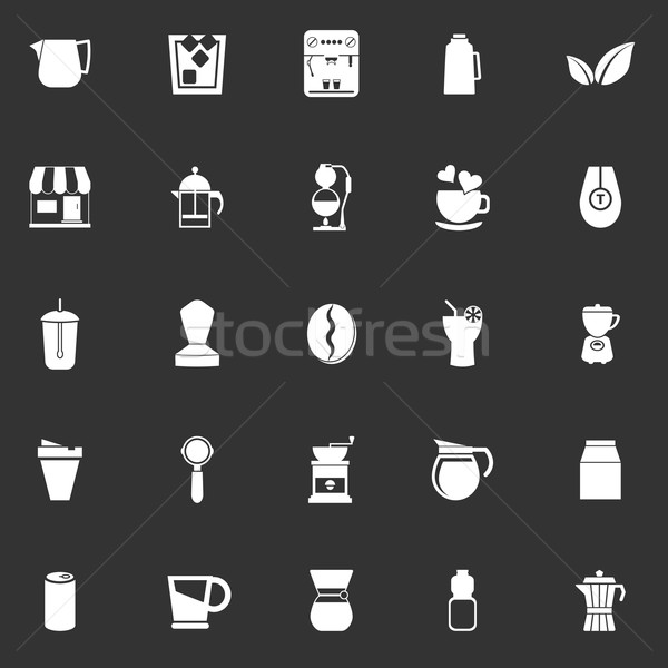 Coffee and tea icons on gray background Stock photo © nalinratphi
