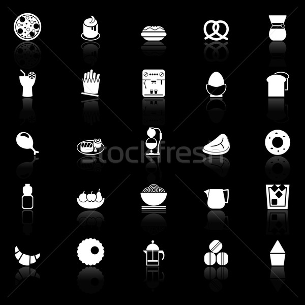Easy meal icons with reflect on black background Stock photo © nalinratphi