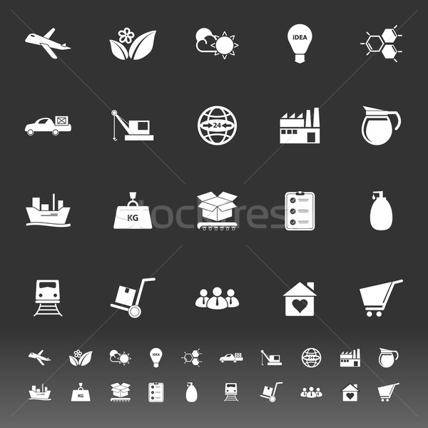Supply chain and logistic icons on gray background Stock photo © nalinratphi