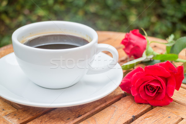 Cup of black coffee in home garden Stock photo © nalinratphi