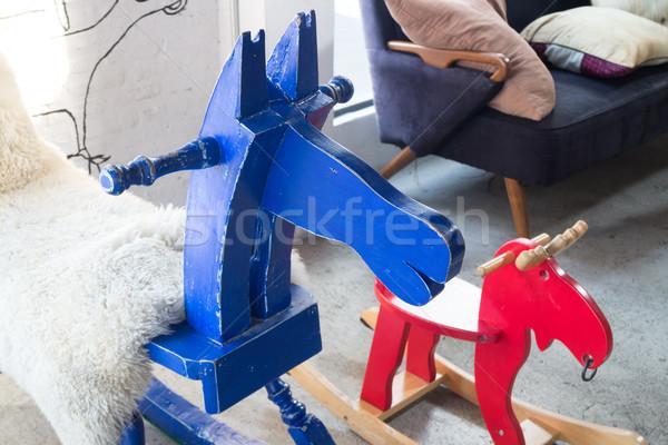Enfants jouet bois cheval à bascule stock photo Photo stock © nalinratphi