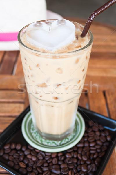 Сток-фото: холодно · стекла · кофе · молоко · сердце · Ice · Cube