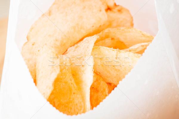 Close up opened bag of potato chips Stock photo © nalinratphi