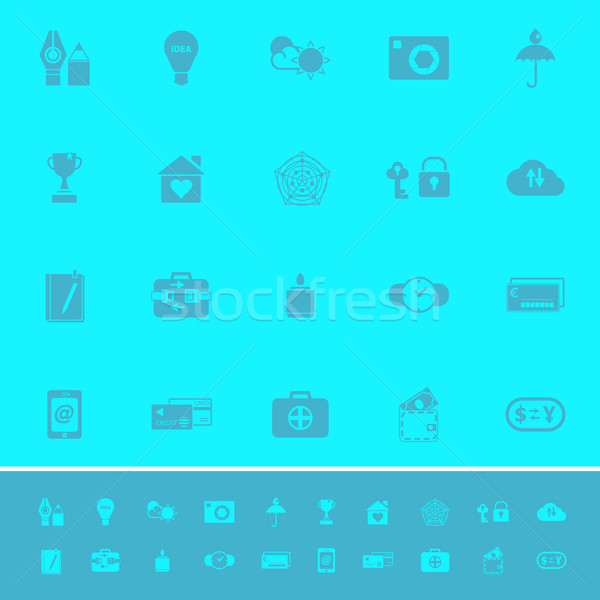 Insurance sign color icons on light blue background Stock photo © nalinratphi